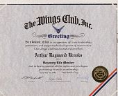 view Certificate, Brooks as honorary life member of the Wings Club, Inc. digital asset: Certificate, Brooks as honorary life member of the Wings Club, Inc.