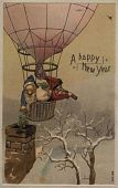 "view ""A Happy New Year."" Two elves drop shamrocks from a balloon digital asset: ""A Happy New Year."" Two elves drop shamrocks from a balloon"