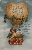 "view ""To My Heart's Best Love..."" Cupid in a balloon basket with heart-shaped ballast digital asset: ""To My Heart's Best Love..."" Cupid in a balloon basket with heart-shaped ballast"