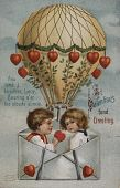 "view ""St. Valentine's Fond Greeting..."" Boy and girl up in a balloon with hearts digital asset: ""St. Valentine's Fond Greeting..."" Boy and girl up in a balloon with hearts"