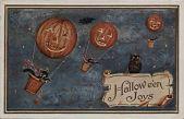 "view ""Halloween Joys."" Three jack-o-lantern balloons flown by cats digital asset: ""Halloween Joys."" Three jack-o-lantern balloons flown by cats"