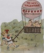 "view ""To My Valentine -- Love and Kisses."" Two cupids in balloon catch a pretty young girl with the drag anchor digital asset: ""To My Valentine -- Love and Kisses."" Two cupids in balloon catch a pretty young girl with the drag anchor"