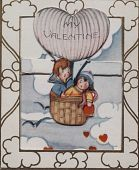 "view ""My Valentine."" Young couple up in a balloon digital asset: ""My Valentine."" Young couple up in a balloon"
