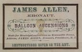 "view ""James Allen, Aeronaut. Balloon Ascensions...Instructions given in the art."" Business card with balloon vignette digital asset: ""James Allen, Aeronaut. Balloon Ascensions...Instructions given in the art."" Business card with balloon vignette"