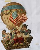 "view ""Safe Journey."" Four young children in a large wicker baskety of a gas balloon with U.S. flag digital asset: ""Safe Journey."" Four young children in a large wicker baskety of a gas balloon with U.S. flag"