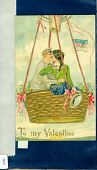 "view ""To My Valentine."" Handsome young couple kissing in balloon basket digital asset: ""To My Valentine."" Handsome young couple kissing in balloon basket"