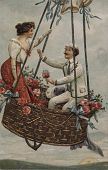 view Untitled. Handsome young couple in a balloon basket digital asset: Untitled. Handsome young couple in a balloon basket