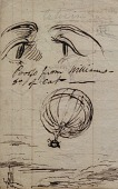 "view ""Proofs from William..."" Ink drawing showing two large eyes and a gas balloon in flight digital asset: ""Proofs from William..."" Ink drawing showing two large eyes and a gas balloon in flight"