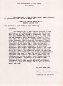 view George H. Mills' Legion of Merit citation and correspondence digital asset: George H. Mills' Legion of Merit citation and correspondence