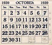 view Monthly calendar, October 1939 - December 1940 -- listing airship patrols digital asset: Monthly calendar, October 1939 - December 1940 -- listing airship patrols