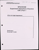 view Spacehab Experiment Operations Checklist, STS-107 Flight Supplement, Spacehab Flight Data File, MDC 2000W5812, Preliminary digital asset: Spacehab Experiment Operations Checklist -- CM-2 Part 1, STS-107 Flight Supplement, Spacehab Flight Data File, MDC 2000W5812, Preliminary