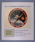 "view STS-7 Air/Ground Transcript, June 18, 1983, Mounted Transcript, STS-7 Patch and Disney ""E"" Ticket [Series 2A3] digital asset: STS-7 Air/Ground Transcript, June 18, 1983, Mounted Transcript, STS-7 Patch and Disney ""E"" Ticket [Series 2A3]"