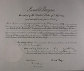 view Presidential Commission on the Space Shuttle Challenger Accident Certificate (Reagan) [Series 2B1] digital asset: Presidential Commission on the Space Shuttle Challenger Accident Certificate (Reagan) [Series 2B1]