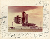 view Photo of Space Shuttle at Launch Pad, autographed by Astronauts [Series 10] digital asset: Photo of Space Shuttle at Launch Pad, autographed by Astronauts [Series 10]