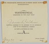 view Certificates from Frederick Douglass Jr. High School digital asset: Certificates from Frederick Douglass Jr. High School