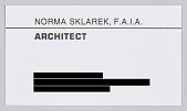 view Norma Merrick Sklarek Archival Collection digital asset: Business card for architect Norma Merrick Sklarek, F.A.I.A.