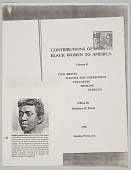 """view Title page """"Contributions of Black Women to America"""" with cut out of biography of Evans [photocopy] digital asset: Photocopy of title page """"Contributions of Black Women to America"""" with cut out of biography of Evans"""