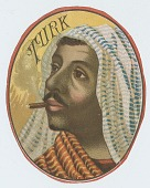 view Turk [man with moustache and headdress, smoking a cigar : label?] digital asset: Turk [man with moustache and headdress, smoking a cigar : label?]