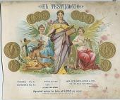 view El Testimonio [lithograph, cigar label.] digital asset: El Testimonio [lithograph, cigar label.]