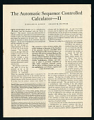 "view Reprints of ""The Automatic Sequence Controlled Calculator"" by Aiken and Hopper, I and II. digital asset: Reprints of ""The Automatic Sequence Controlled Calculator"" by Aiken and Hopper, I and II."