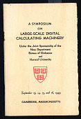 view Program for A Symposium on Large-Scale Digital Calculating Machinery, digital asset: Program for A Symposium on Large-Scale Digital Calculating Machinery,