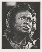 view Miles Davis in Switzerland. [Photoprint, black-and-white] digital asset: Davis, Miles; Montreaux, Switzerland, July 1991