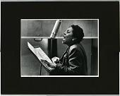 view [Dinah Washington singing into microphone] [photoprint, black-and-white digital asset: Washington, Dinah; New York City, 1955