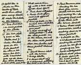 view Willie Mosconi Papers digital asset: Handwritten notes, folded, from Mosconi's wallet, relating to billiard strategy