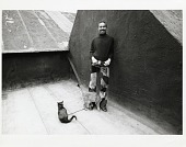 view Bobby Short Papers digital asset: On roof of Carnegie Hall with cats, 1960s