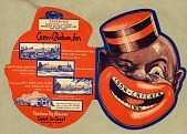 view Coon Chicken Inn Records and Graham Family Papers digital asset: Pages 1 and 2, promotional folder, inside spread and outside spread; die-cut for shape of smiling face logo