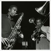 "view John Coltrane and Lee Morgan at Coltrane's Sept. 15, 1957 session for ""Blue Train"" (Blue Note) at the Van Gelder Studio, Hackensack, N.J. digital asset: John Coltrane and Lee Morgan at Coltrane's Sept. 15, 1957 session for ""Blue Train"" (Blue Note) at the Van Gelder Studio, Hackensack, N.J."