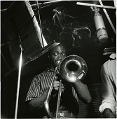 """view Curtis Fuller at his June 16, 1957 session for """"The Opener"""" (Blue Note) at the Van Gelder Studio, Hackensack, N.J. This became the album's cover image.  (Missing) digital asset: Curtis Fuller at his June 16, 1957 session for """"The Opener"""" (Blue Note) at the Van Gelder Studio, Hackensack, N.J. This became the album's cover image.  (Missing)"""