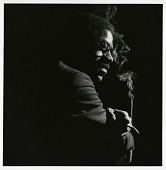 """view Joe Henderson at the Blue Note offices, New York City in October 1963. This became the cover image for his album """"Our Thing"""" (Blue Note). digital asset: Joe Henderson at the Blue Note offices, New York City in October 1963. This became the cover image for his album """"Our Thing"""" (Blue Note)."""