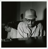 """view Alfred Lion and Thelonious Monk at Monk's May 30, 1952 session for """"Genius of Modern Music"""" (Blue Note) at WOR Studios, New York City. digital asset: Alfred Lion and Thelonious Monk at Monk's May 30, 1952 session for """"Genius of Modern Music"""" (Blue Note) at WOR Studios, New York City."""