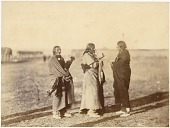 view Group of Native men at Fort Laramie for the treaty signing digital asset: [P15384] Oglala Lakota (Oglala Sioux) and Northern Tsitsistas/Suhtai (Cheyenne) men Fire Thunder, Man Afraid of His Horses, and Pipe gathered at Fort Laramie for the treaty signing