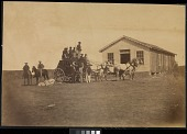 view United States Overland Stage starting for Denver from Hays City, 289 miles west of Missouri River digital asset: [P10133] Group of men, including Buffalo soldiers, with a U.S. Express Overland Stagecoach in Hays City, KS enroute to Denver, Colo. (published as plate number 148)