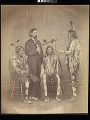 view Itazipacola Lakota (Sans Arc Sioux) and Sicangu Lakota (Brulé Sioux) delegates and an interpreter, Washington, D.C. digital asset: [P10139] Itazipacola Lakota (Sans Arc Sioux) and Sicangu Lakota (Brulé Sioux) delegates and an interpreter. From left to right they are: Medicine Bull (Ta-ta-ka-wa-kan), an unidentified interpreter (possibly Samuel D. Hinman, 1839-1890), Iron Nation (1815-1894), and Yellow Hawk