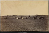 view Indian encampment near Fort Laramie, Wyoming digital asset: [P10120] View of wagons parked between Lakota [?] tipis at an encampment near Fort Laramie, Wyoming, during the Fort Laramie Treaty negotiations