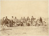 view Group gathered at Fort Laramie during the 1868 treaty signing digital asset: [P15376] Non-Indian men, Native women, and children gathered at Fort Laramie during the 1868 treaty signing. William G. Bullock may be the second man from right with Sophia and Louise Moran in the middle