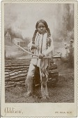 view Young boy holding bow and arrow (Plains) digital asset: Young boy holding bow and arrow (Plains)
