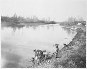 view Woman gathering water from Little Big Horn River digital asset: Woman gathering water from Little Big Horn River