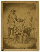 view Portrait of Chief Barboncito, Chief Manuelito, Chief Cayetanito, and a boy digital asset: Portrait of Chief Barboncito, Manuelito, Calletano, and a boy