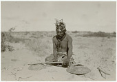 view Dane Coolidge photographs from Mexico digital asset: Santo Blanco (Seri) playing musical bow