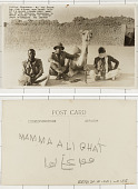 view Algeria The Captain Angus Buchanan Sahara Expedition:Captain Buchanan, Ali, and Sakari, and Feri N'Gashi [camel] digital asset: Algeria The Captain Angus Buchanan Sahara Expedition:Captain Buchanan, Ali, and Sakari, and Feri N'Gashi [camel]