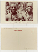 view Two natives of Kamaroon, Congo and Masamba, who are distinguished by their facial and body scars digital asset: Two natives of Kamaroon, Congo and Masamba, who are distinguished by their facial and body scars