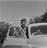view Alan Paton's Son With Automobile, Natal, South Africa digital asset: Alan Paton's Son With Automobile