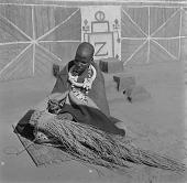 view Ndebele Woman Making Broom digital asset: Ndebele Woman Making Broom