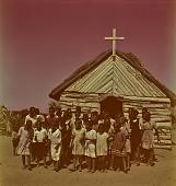 view Zulu children in front of church, KwaZulu-Natal (South Africa) digital asset: Zulu children in front of church, KwaZulu-Natal (South Africa)
