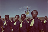 view Children in uniforms awaiting the Royal Visit, Nhlangano (Swaziland) digital asset: Children in uniforms awaiting the Royal Visit, Nhlangano (Swaziland)