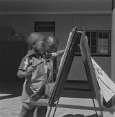 view Children painting, Soweto (South Africa) digital asset: Children painting, Soweto (South Africa)